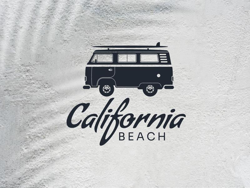 Retro Beach Logo car logo transportation logo travel logo combi logo van logo beach illustration surfboard logo combi volkswagen vw logo beach logo logo vector design logo template icon vintage logo retro logo logo design logos logo