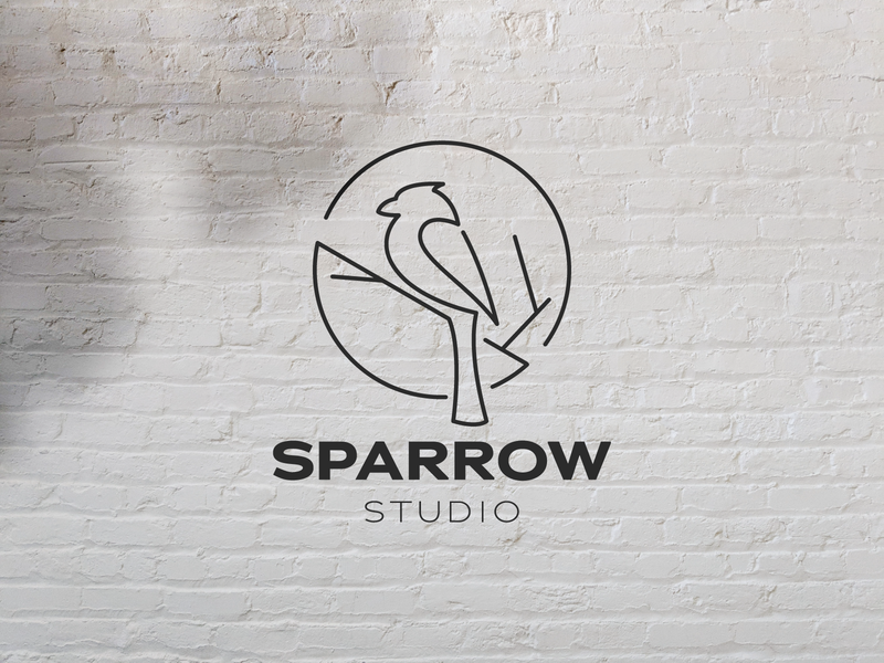 Sparrow Studio Logo minimalist logo outline line bird logo line branch studio logo sparrow logo bird logo red sparrow logo vector design logo template icon vintage logo retro logo logo design logos logo