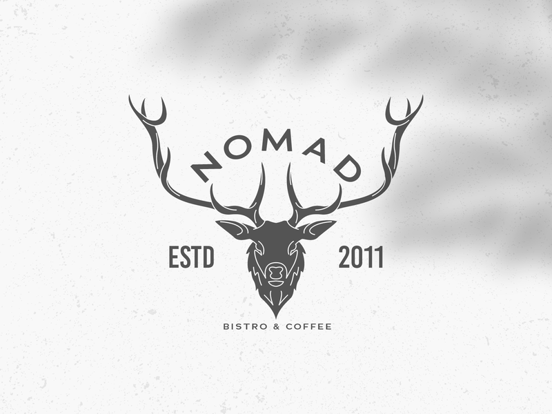 Retro Nomad Bistro & Coffee Logo Badge steak deer vector badge emblem coffee logo bistro restaurant logo deer logo deer logo vector design logo template icon vintage logo retro logo logo design logos logo