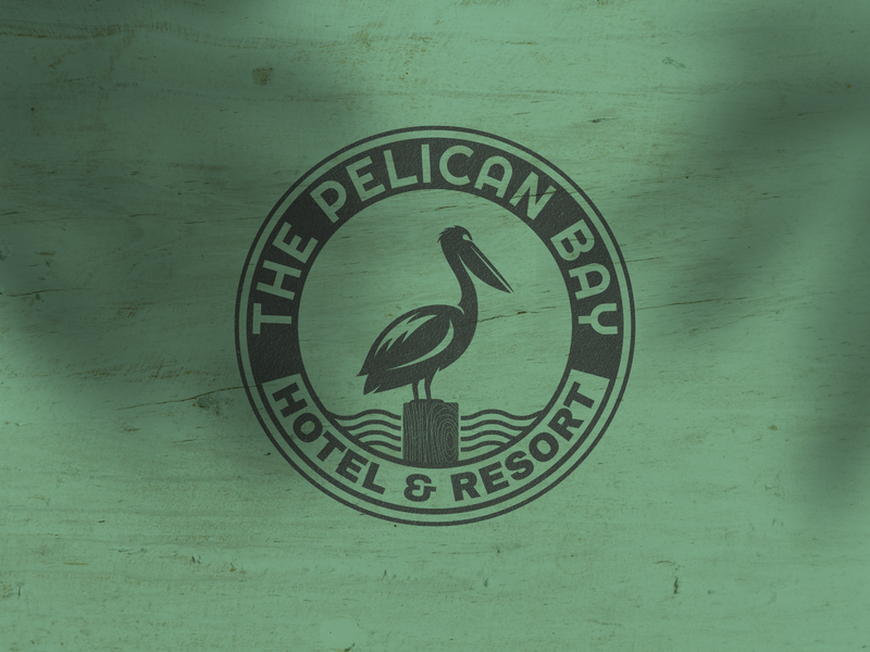The Pelican Bay Hotel & Resort Logo Badge badge logo bird logo resort logo hotel logo pelican silhouette pelican vector pelican logo pelican logo vector design logo template icon vintage logo retro logo logo design logos logo