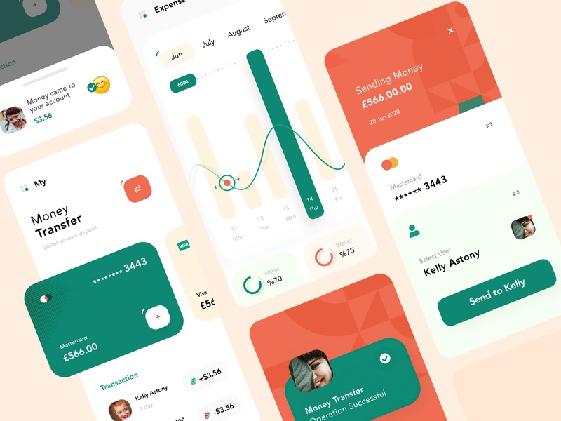Money Transfer Mobile App fireart ux mobile ui statistics card cards green financial app application money money transfer money app app cool finance app finance mobile app mobile creative