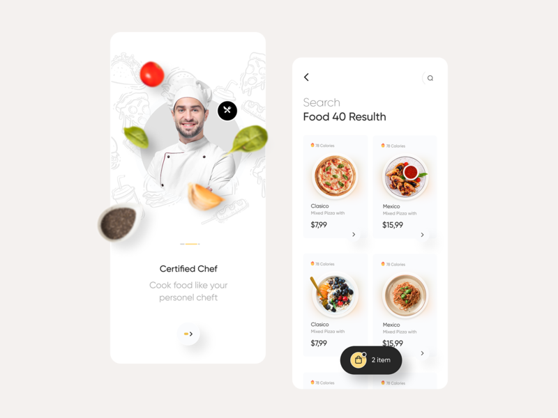 Fode - Food Delivery App pizza serach resulth resulth chef yellow ux product design uxdesign ui design mobile app mobile design food food delivery app aplication app