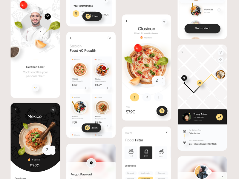 Food Delivery App ui8 fireart creative clean food delivery food delivery app delivery app uxui mobile design design food illustration pizza food