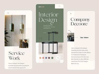 Decoore Interior - Mobile Concept typography banner slider showreel showcase portfolio uxdesign ux ui design responsive mobile design mobile interior clean minimalist minimal