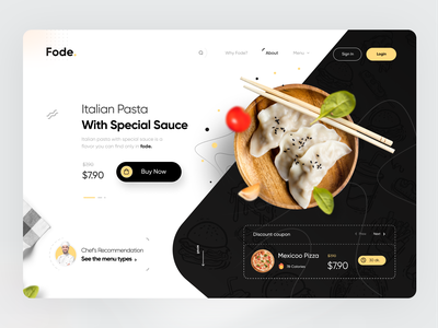 Food Home Page web site web landing page homepage web designer food and drink uxui design yellow black food app home page web page web design food uidesign design webdesign ui ux creative