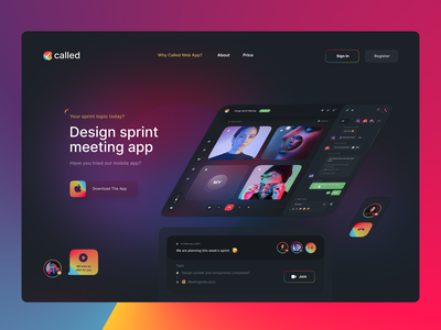 Called Website sprint meeting confetti uiux ui web design chat app app branding call to action chat people video app call design uidesign webdesign creative ux