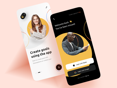 Goal App - Mobile design uidesign apple branding yellow application goals goal ui mobile app mobile design app