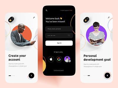 Goal App - Mobile design uidesign apple branding yellow application goals goal ui mobile app mobile design app
