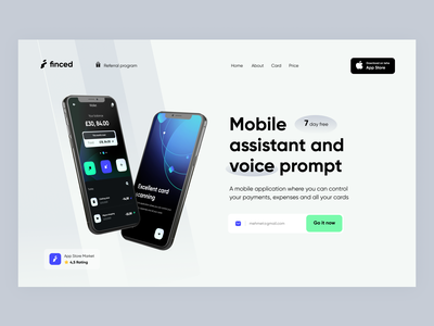 Finced- Web Site- Home page green white space white blue finance app finance mobile uxdesign uidesign webdesign ui creative ux website design web app web ui product design home page landing page landingpage