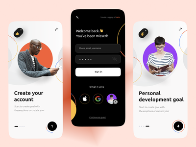 Onboarding- Mobile design black circle design uidesign webdesign creative goals goal