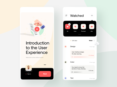 Course App Design filter learning application app mobile apps mobile ui onboarding 3d art 3d red yellow black online store product design mobile app uidesign webdesign ui creative online course