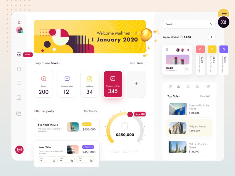 Property Dashboard (freebies XD v.) real estate dashboard design dashboard dashboad crm software crm red yellow navigation progress bar property listing property ux uiux ui freelance cool freebies freebie free xd
