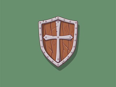 Shield medieval vector game icon weapon shield illustration