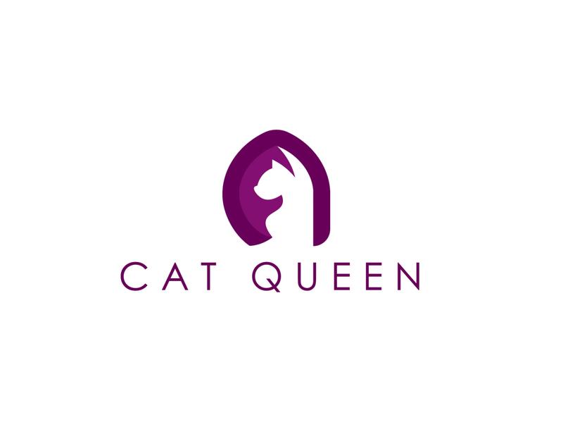 cat queen logo icon flat design logo