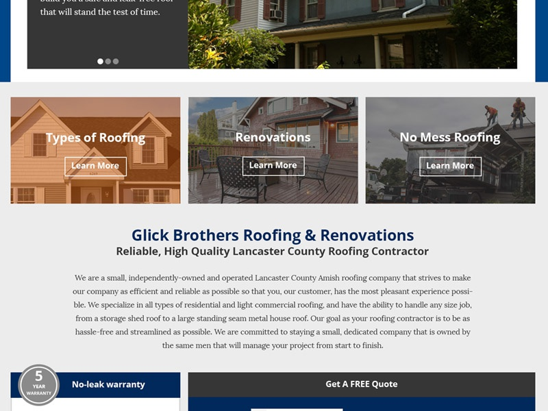 Glick Brothers Roofing Website Redesign By Frederic