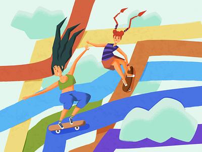 Skater girls skateboarding rainbow characters noise shadow character design texture grain charactersdesign character vector illustration