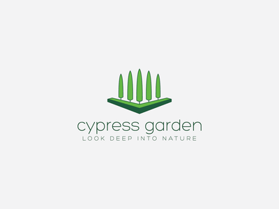 Cypress Garden Logo Design eco logo leaf initial minimalistic abstract illustration flower tree naturalistic branding design logo identity logotype branding natural logo growing logo design logo agriculture garden cypress