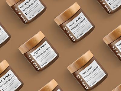 Label design for BRWN&CO. mockup packaging graphic design cosmetic products labels labels design