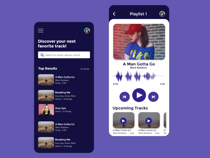 Music Player App app typography ux ui flat application app design minimal design