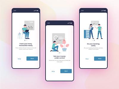 Onboarding Screens _ Financial App transfer money bank app financial onboarding illustration ux ui design figma
