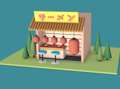my little ramen bar house concept 3d c4d