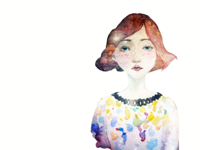 On my mind watercolor drawing sketch girl graphic illustration portrait clean