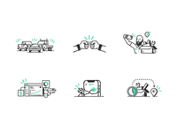Delivery Sh*t character truck construction hand drawn illustration icon