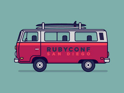 RubyConf BUSTRIP!!! bus vw van surf illustration vector ruby rails conference rubyconf