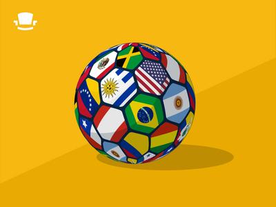 COPA America Excitement 3d flags ball soccer football futbol footy