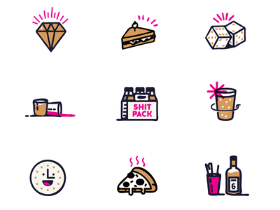 Restaurant illos happy hour pizza dice beer bar icons hand-drawn restaurant