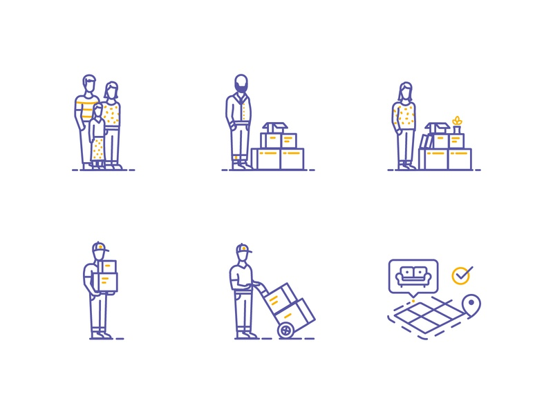 Movebox people icons monoline stroke characters boxes moving company moving movers icons