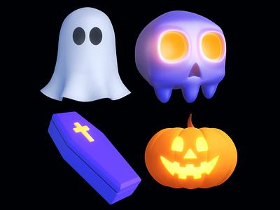 Spooky Time! - Airtime Halloween Reactions airtime halloween skull ghost coffin jackolantern spooky season octane render c4d