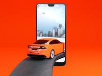 Phone allintheapp ooh render car into phone hires th 1 drib