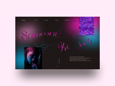 Concept music page typography ux vector concept ui design