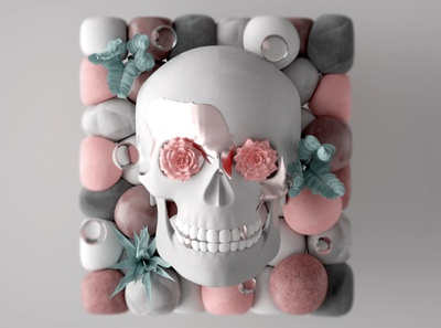 Skull color concept cinema 4d 3d cinema4d c4d design