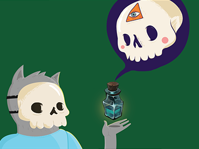 Masks wip bottle cat skull flat illustration