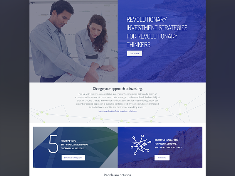 Homepage progress website web site design branding identity factor elevator