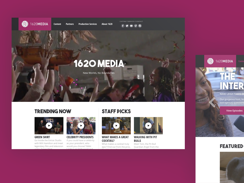 1620 Media is live!  inbound platform video media production website site web
