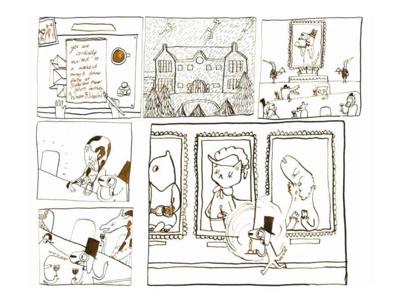 Murder at Slipperford Manor narrative animals ink illustration art character