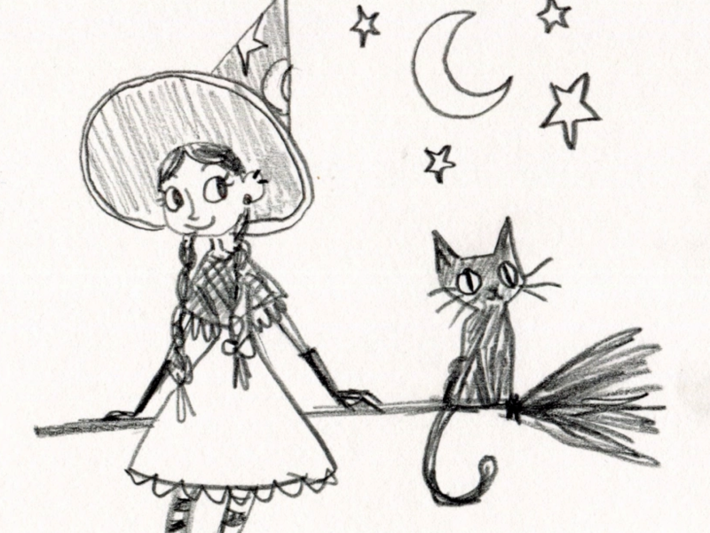 A Short Rest pencil witch character art illustration