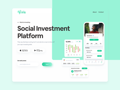 Iris - Social Investment Platform typography clean product interface web web design ux app ui design