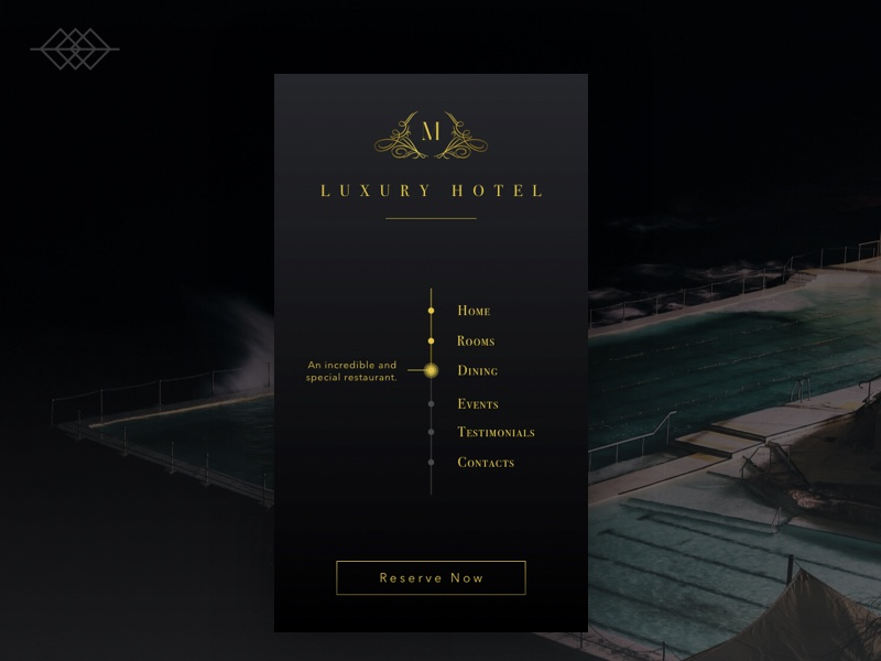 Day 022 | Luxury Hotel app menu