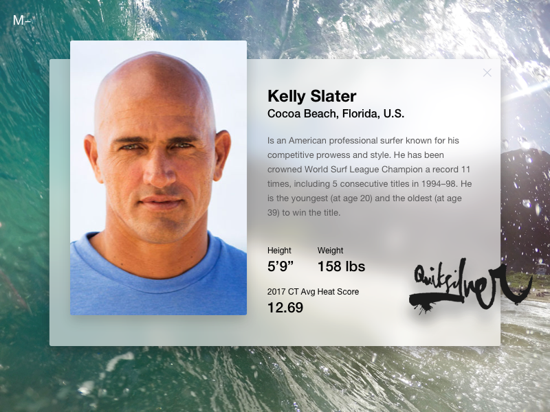 Fluent Design System - Kelly Slater Surfer
