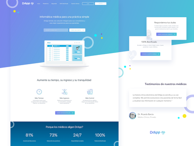 New Dr. App - Doctors Landing Page web design design gradient interface product app ui ux web blue healt