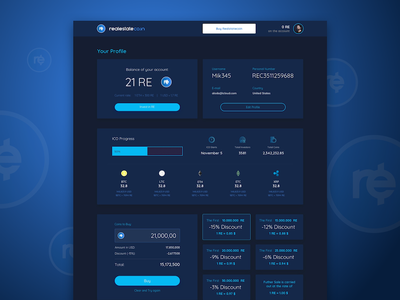 Cryptocurrency Dashboard - ICO bitcoin cryptocurrency blue web ux ui app product interface gradient design web design