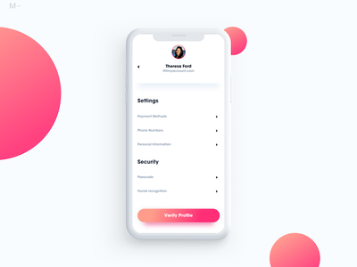 Minimal Profile Setting gradient setting ux ui product interface design app