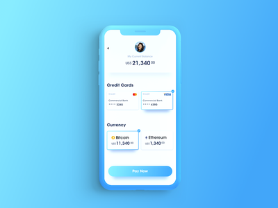 Card Selector gradient setting ux ui product interface design app