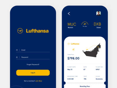 Lufthansa App 1 illustration minimal design illustrator website web ux ui branding app