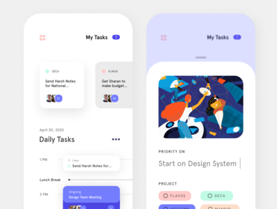 Task Management App website web ux ui minimal illustrator illustration design branding app