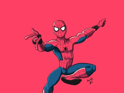 Spider Man cartoon illustration cartoon marvel spiderman paint art vector illustrator illustration